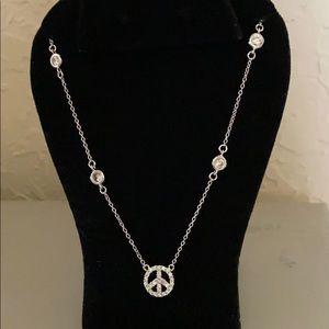 Jewelry - Silver diamond by the yard peace sign necklace
